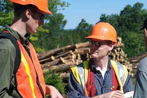 FBRI's Dr. Jeff Benjamin and graduate student Chuck Coup at work with Huber Resources Corporation (timberland managers) on management systems to enhance timber stands and recover low grade wood for biomass use.