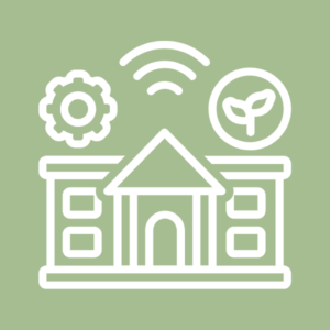 Icon of a building with three symbols above it, a gear, wifi signal lines, and a sprig with two leaves in a circle, white on green background.
