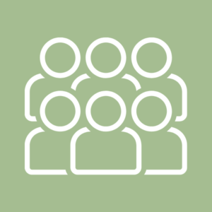 Icon with six silhouettes of people's head and shoulders in two stacked rows of three, white on light green background